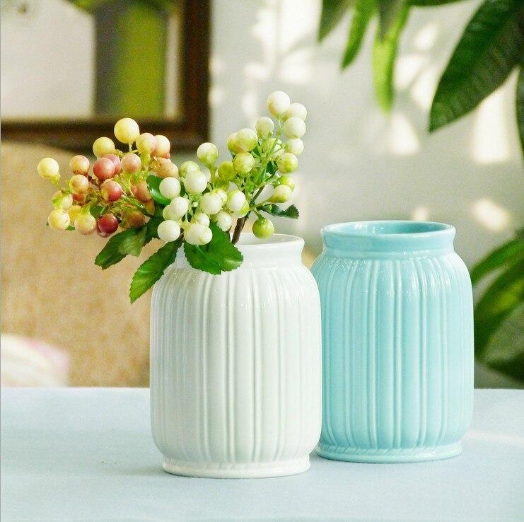 Sibaolu White Ceramic Vase Modern Ceramic Flower Vase