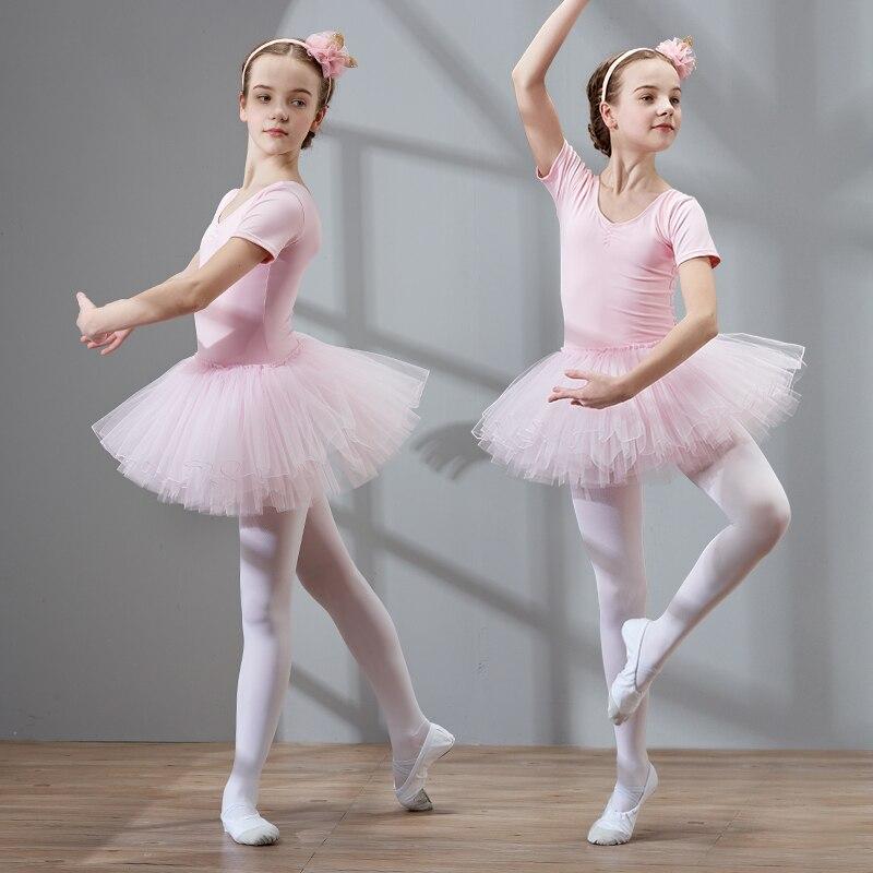 Girls Dance Tutu Dress Ballet Dress Short Sleeve Ballet Clothing Dance Wear With Chiffon Skirts High Quality