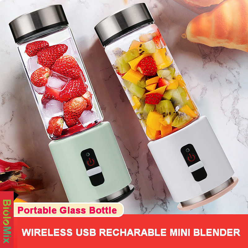 BPA FREE USB Rechargeable Portable Blender 4000mAh Battery Personal 380ml Glass Smoothie Blender Juicer Cup Travel Fruit Mixer