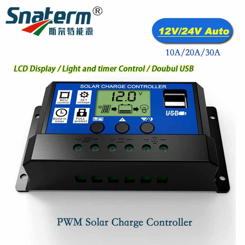 Solar Charge Controller 12v 24v 30a 50a Automatic Photovoltaic Solar Panel Battery Street Light Lcd Screen Display Pwm Charging Chargers