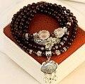 Natural de cristal granada pulseira de multi camada de bloqueio longevidade fadiga pulseiras presentes de jóias por atacado das mulheres do vintage 0247