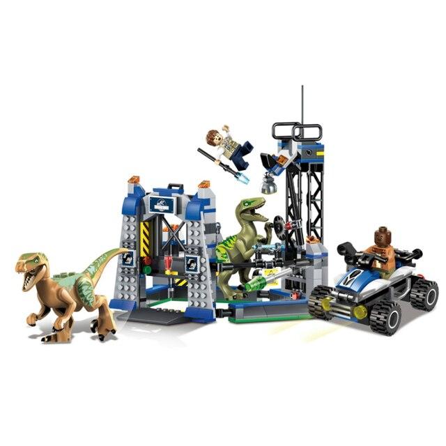 79180 406 Unids Jurassic World 4 Kits de Edificio Modelo de Dinosaurio Jurassic Park Figura Bloques De Ladrillos De Juguete Compatible con Legoe