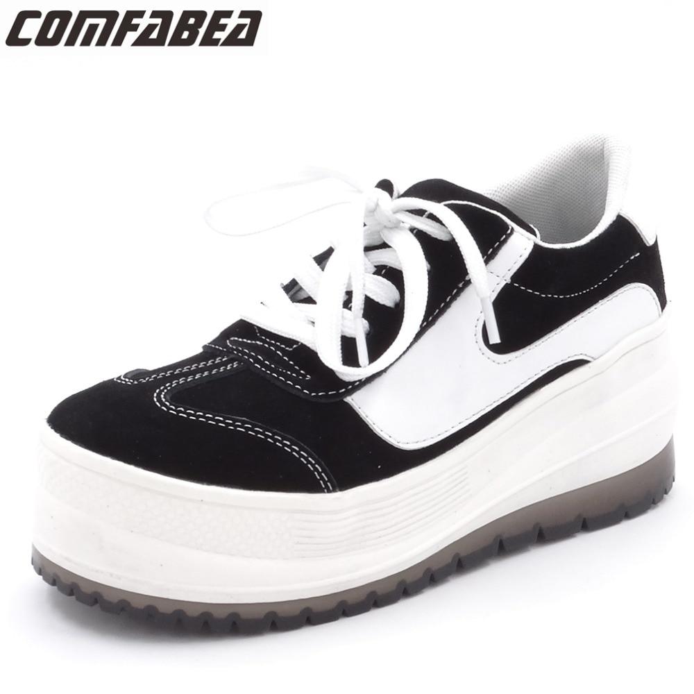 COMFABEA New 2018 Spring Autumn Shoes Women Casual Shoes Cow Suede Flats Heel Shoes Fashion Ladies Black White Platform Shoes велосипед specialized diverge comp carbon 2015