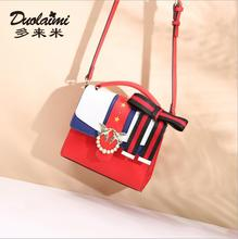 DuoLaiMi 2018 New Arrival Fashion Bow Star Panelled Red Preppy Style Rivet Red For Women Cross body Shoulder Handbag Bag Flap