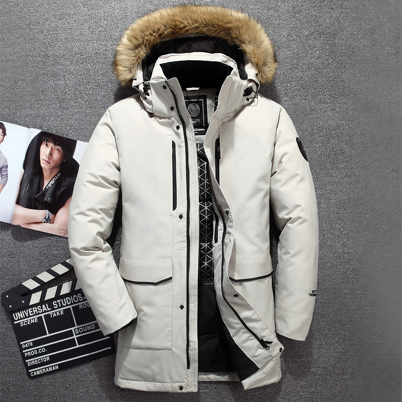Genuine Fur Collar Men's Down Jacket Windbreaker Waterproof Winter Jacket For Men White Duck Down Jacket Long Coat Men-40 Degree