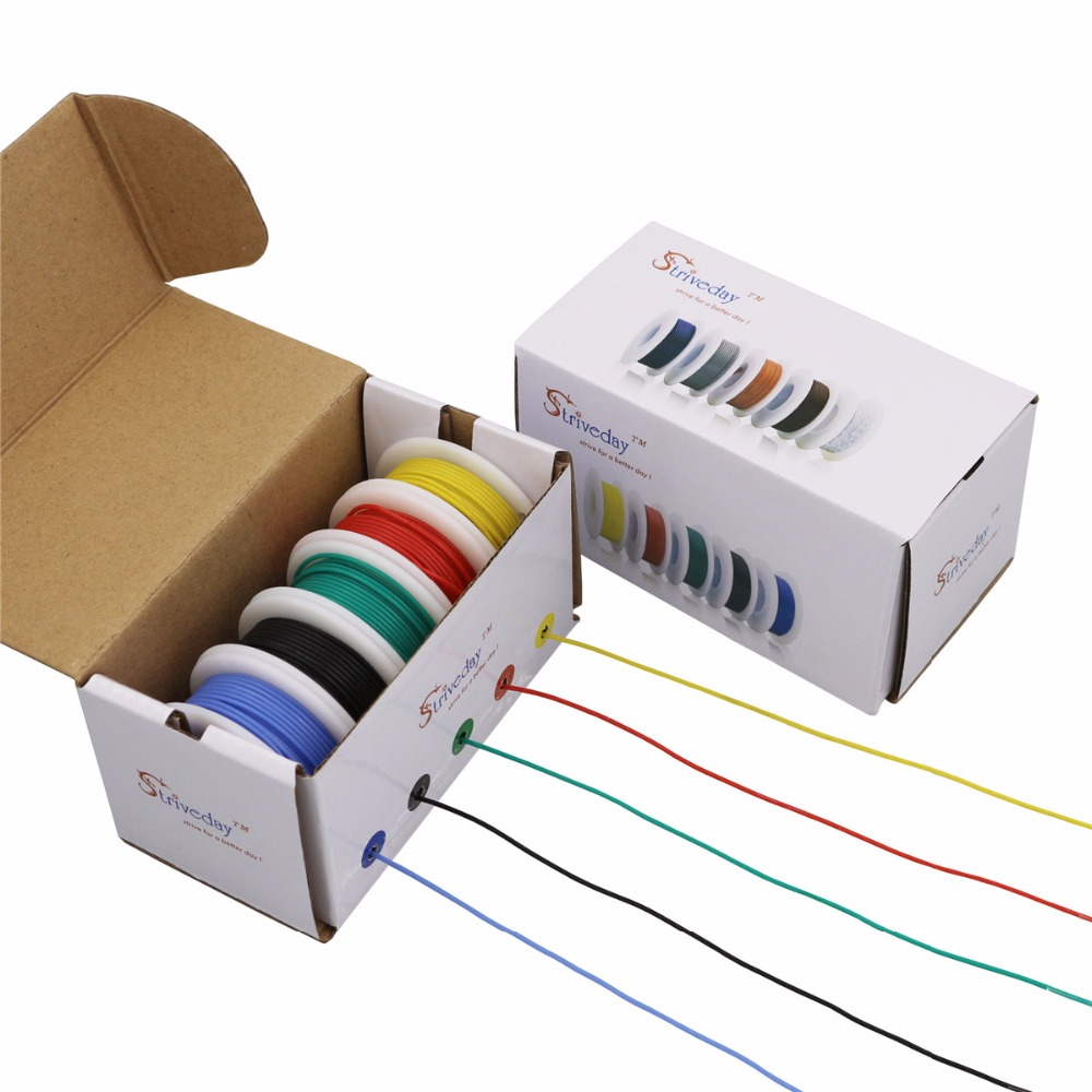 30AWG 50m flexible silicone wire 5 color box 1 line outside 0.8mmUL3135 electronic stranding tinned copper wire cable DIY(China)