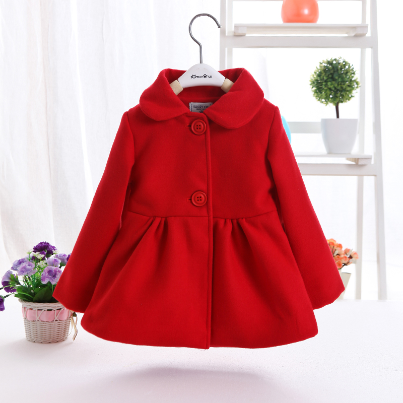 все цены на 2018 Spring Fall New Little Girls Red Woolen Coat Female Baby Kids Casual Lapel Wool Jacket Children Clothes Long Outerwear X64