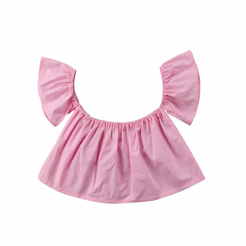 Fashion Newborn Baby Girls Blouse Summer Short Sleeve Solid Girl Tops Princess Girl Ruffle Off Shoulder Crop Top
