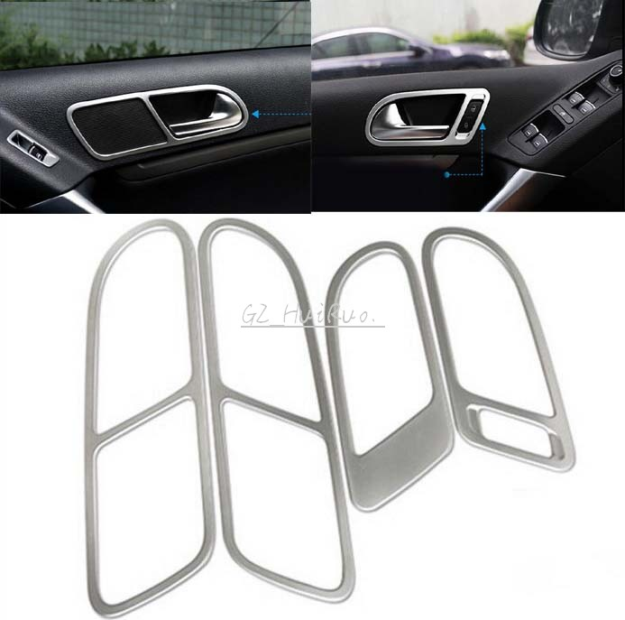 ABS Interior INNER Door handle bowl frame cover trim 4pcs For Volkswagen VW Tiguan 2010 2011 2012 2013 2014 2015 nitro triple chrome plated abs mirror 4 door handle cover combo