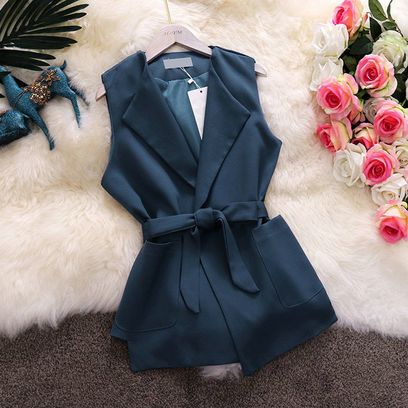 HISUMA summer new women Notched sleeveless pockets lace up waist   blouses     shirt   female elegant OL slim   shirts   tops