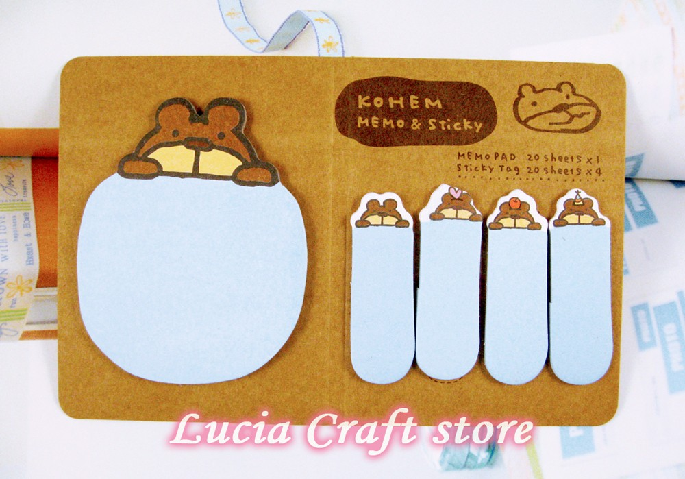SALE! Lucia crafts 14*9cm cute sticker Animal marker memo flag Sticky Notes multi types options 1set/lot 048012107