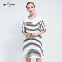 SpaRogerss 2018 New Spring Knit Sweater Dress Womens Blacke White Stripes Printed Dress Female Five Sleeved