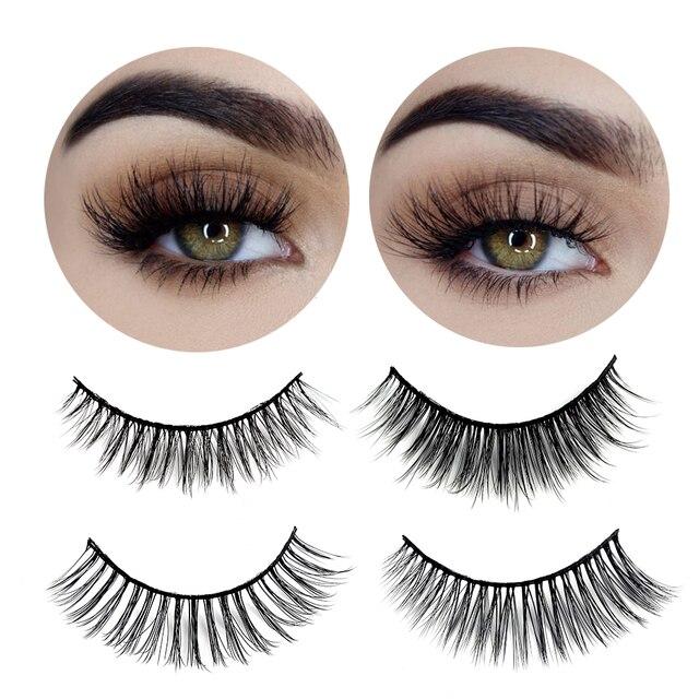 3 paires de faux cils naturels beauté maquillage épais croix volumineux Style malpropre cils Extension femmes mode maquillage outil 2