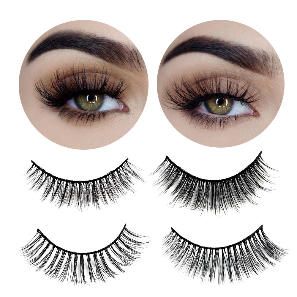 3 Pairs Natural False Eyelashes Beauty Make up Thick Cross Voluminous Messy Style Eye Lashes Extension Women Fashion Makeup Tool 2
