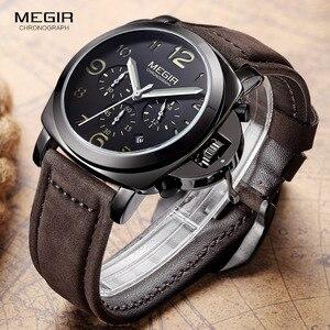 Image 5 - Бесплатная доставка MEGIR 3406 стильные кварцевые часы для мужчин с ремешком из натуральной кожи нубука мужские водостойкие наручные часы с аналоговым дисплеем