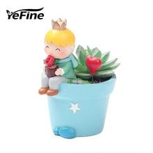 YeFine мультфильм маленький цветок горшки смолы бонсай горшки украшение для рабочего стола плантатор детская горшки подарки для детей