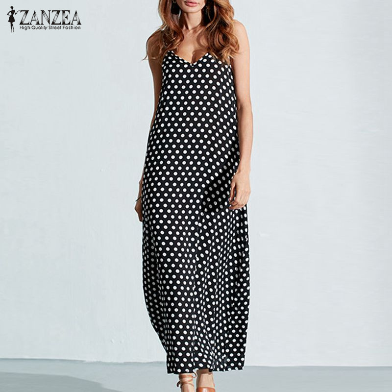 6XL Plus Size Summer Dress 2018 ZANZEA Women Polka Dot Print V Neck Sleeveless Sundress Loose Maxi Long Beach Boho Vintage Dress 2