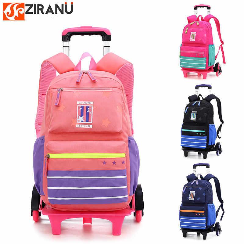 6 wheels Trolley schoolbag brand fashion backpack 2 wheel teenagers book  bags primary school bag girls 9f9d494669c1a