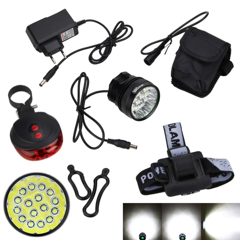 16 LED Bike Headlight 20000Lumens 16x XM-L T6 LED Bicycle Light Cycling Bike Head Lamp+Rechargeable 18650 Battery+Rear Light 2 in 1 20000lm 16 x xm l t6 led rechargeable bicycle light bike headlight headlamp head lamp 18650 battery pack charger