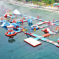 60x45m Commercial Outdoor Giant Water Park inflatable island water playground float