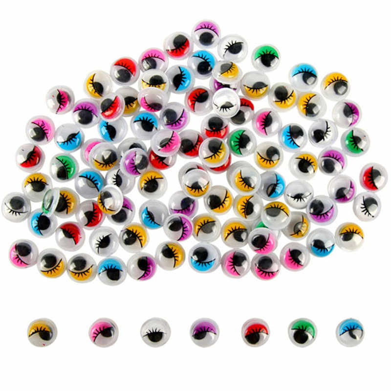 Childrens Dool Accessories 100pcs/pack New Dolls Accessories Oval Multicolour Eyelashes Handmade Material Plastic Activity Eyes