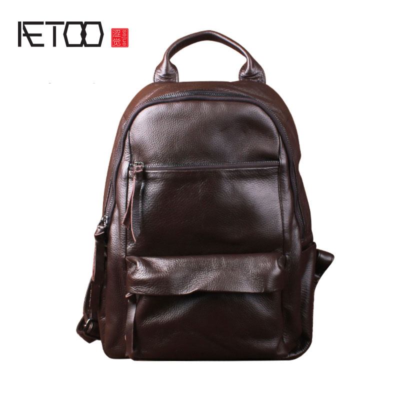 AETOO Retro Backpack Men and Women Leather Backpack Leisure Bag Bags Travel Computer Bags aetoo retro backpack men and women leather backpack leisure bag bags travel computer bags