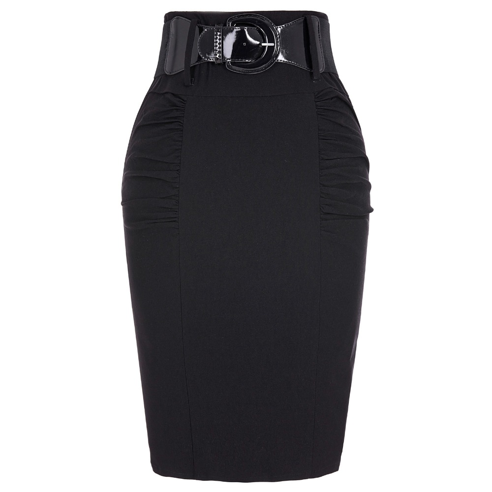 2018 Sexy festpenn Kjoler Kvinner Business Work Office Skjørt sashes High Waist Elastic Bodycon Slim Fit Ladies Kjoler