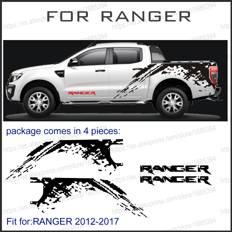 mudslinger body rear tail side graphic vinyl for Ford ranger 2012 2013 2014 2017sticker 4pc mudslinger body rear tail side graphic vinyl decals for ford ranger 2012 2013 2014 2015 2016 sticker
