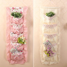 Vintage Pastoral Hanging Storage Bag Fabric Polyester Bowknot Lace Elegant Flower Home Organizer Pouch Multilayer Decor