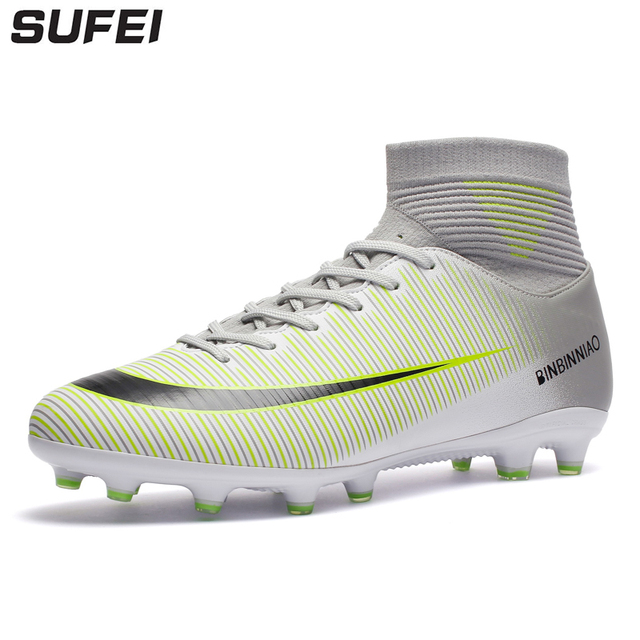 sufei 2018 Men Soccer Shoes Superfly V AG Outdoor High Ankle Kids Teenager Football  Boots Nail Training Cleats Sport 8c5e37e19