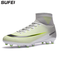 sufei 2018 Men Soccer Shoes Superfly V AG Outdoor High Ankle Kids Teenager Football Boots Nail Training Cleats Sport