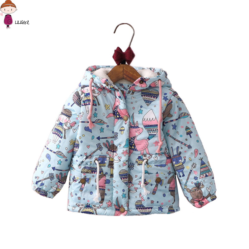 80-125cm Cartoon Graffiti Baby Girl Hoodie Cashmere Jackets Cotton Clothing Kids Winter Jacket Children Clothing Outerwear 2-7Y