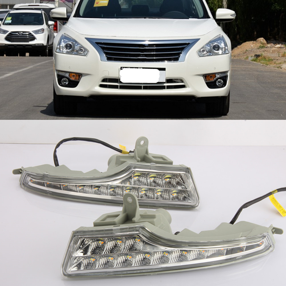 CSCSNL 2PCS 12V ABS LED DRL Daytime Running Lights With turnning yellow signal For Nissan Altima
