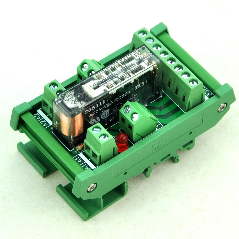 DIN Rail Mount Safety Relay Module, 24V AC/DC, G7SA-4A2B, 4PST-NO DPST-NC.DIN Rail Mount Safety Relay Module, 24V AC/DC, G7SA-4A2B, 4PST-NO DPST-NC.