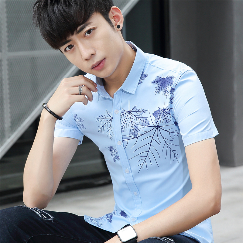 Summer Features Shirts Men Casual Jeans Solid Color Shirt Camisa Masculina Slim Fit New Short Sleeve Slim Fit Male