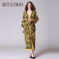 2018 Spring New Arrival Elegant V Neck Full Sleeve Floral Printed Sashes Fashion A Line Casual