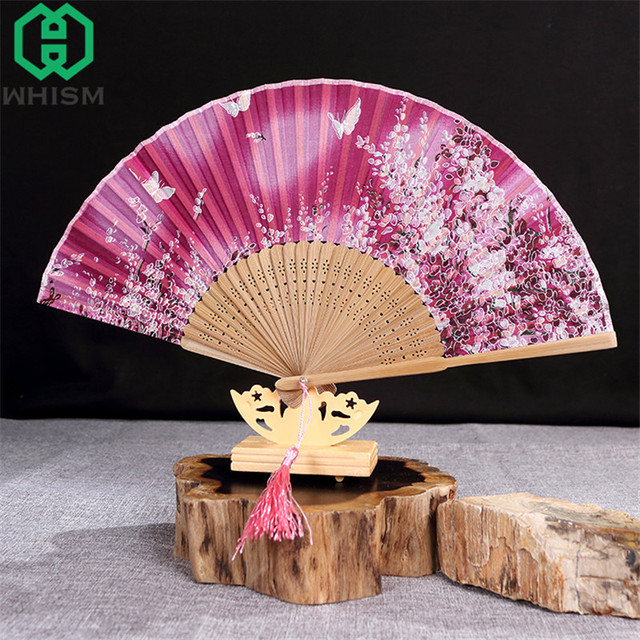 WHISM Chinese Style Hand Wood/Silk/Paper/Lace Folding Fan Stand ...