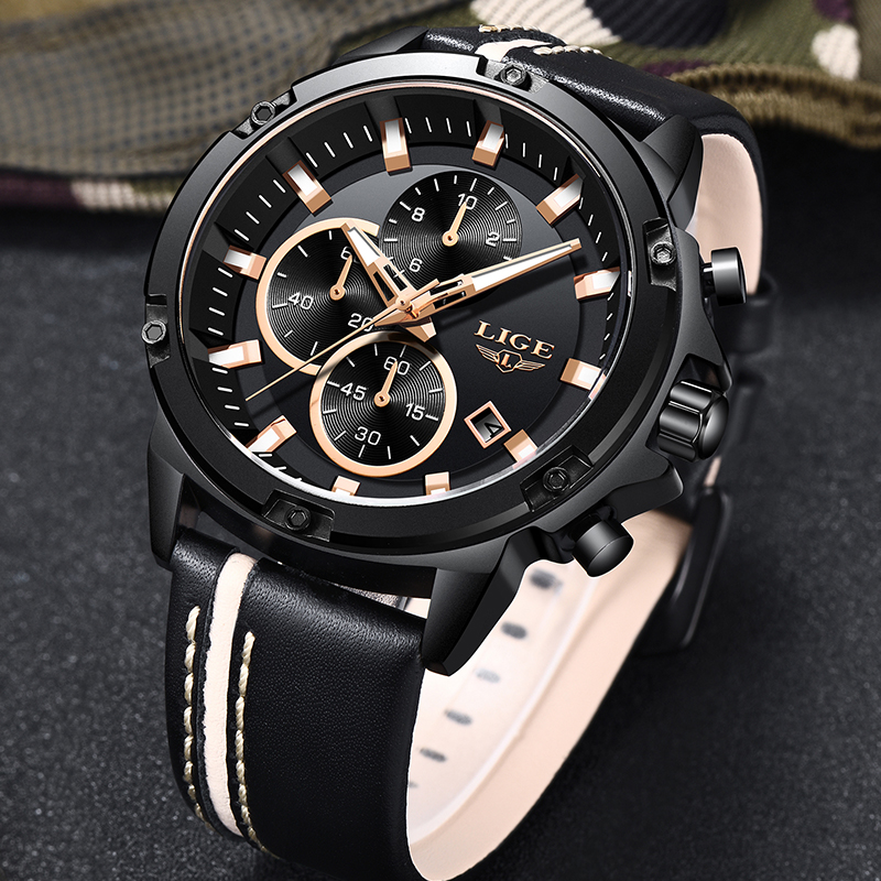 2019 Homens Relógios Moda LIGE Cronógrafo Masculino Top Marca de Luxo Relógio de Quartzo Relógio Do Esporte Dos Homens De Couro À Prova D' Água Relogio masculino