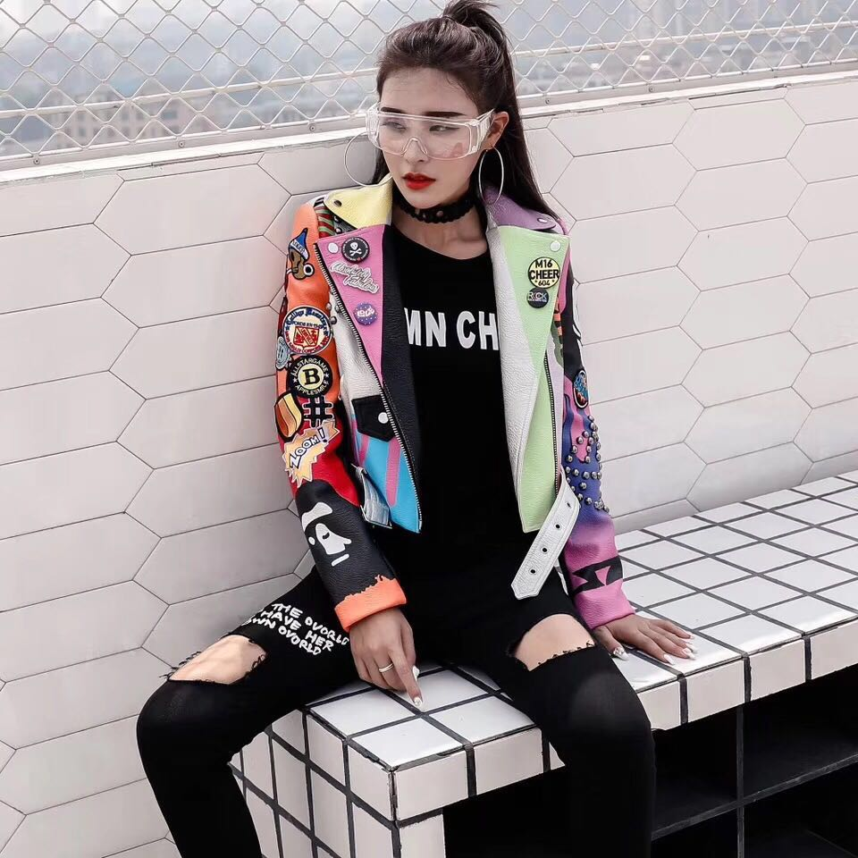 LORDXX Cropped Leather Jackets Women Hip hop Colorful Studded Coat New Spring Ladies Motorcycle Punk Cropped Jacket with belt 3