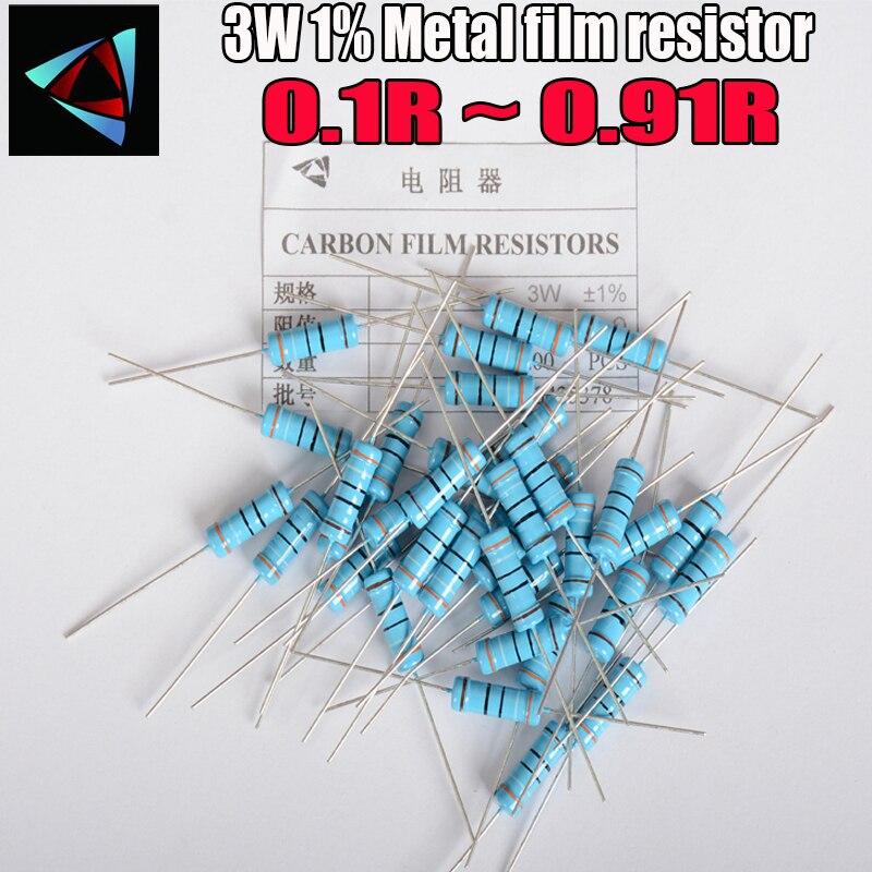 20PCS 3W Metal Film Resistor 1% 0.1 0.12 0.15 0.18 0.2 0.22 0.24 0.27 0.3 0.33 0.36 0.39 0.43 0.47 0.5 0.56 0.62 0.68 0.75 ohm