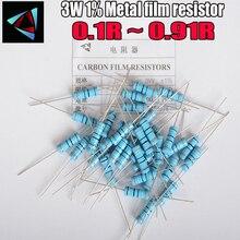 10PCS 3W Metallo Film Resistor 1% 0.1 0.12 0.15 0.18 0.2 0.22 0.24 0.27 0.3 0.33 0.36 0.39 0.43 0.47 0.5 0.56 0.62 0.68 0.75 ohm