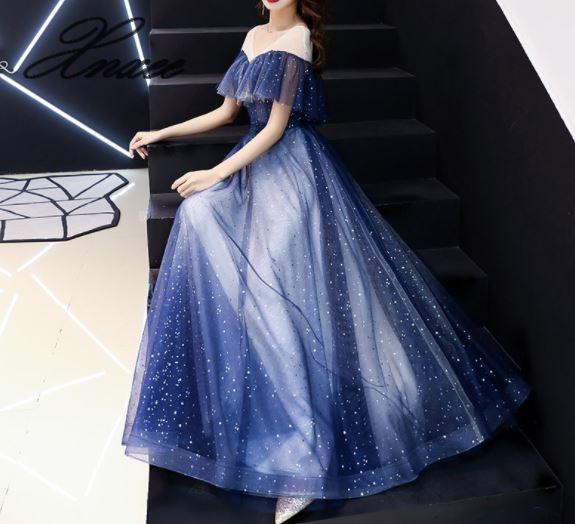 Robe femme 2019 nouveau banquet mode atmosphère élégante longue robe étoile