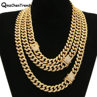 Top Quality Iced Out Bling CZ Miami Cuban Link Chain Men S Hip Hop Necklace Golden