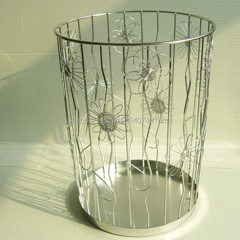 K15 WASTE BIN/CAN ROUND/FLOWERS/CREATIVE/CUTE/NEW STAINLESS HAND-MADE ART CRAFTS WEDDING&BIRTHDAY&HOME&OFFICE&GIFT&PRESENT