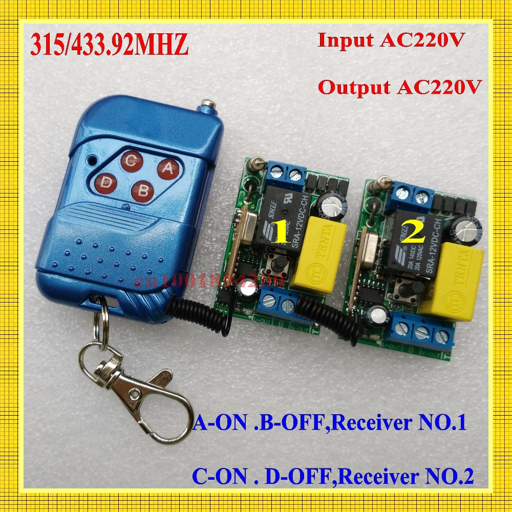 A-ON B-OFF C-ON D-OFF Light Lamp LED Bulb Power Remote Control Switch Input AC220V Output AC220V 10A Relay Receiver Transmitter 2pcs receiver transmitters with 2 dual button remote control wireless remote control switch led light lamp remote on off system
