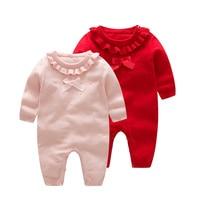 Sweet Baby Girls Romper Knitted Cotton Toddler Sweater Princess Baby Girls Romper Ruffles Bow Newborn Girls