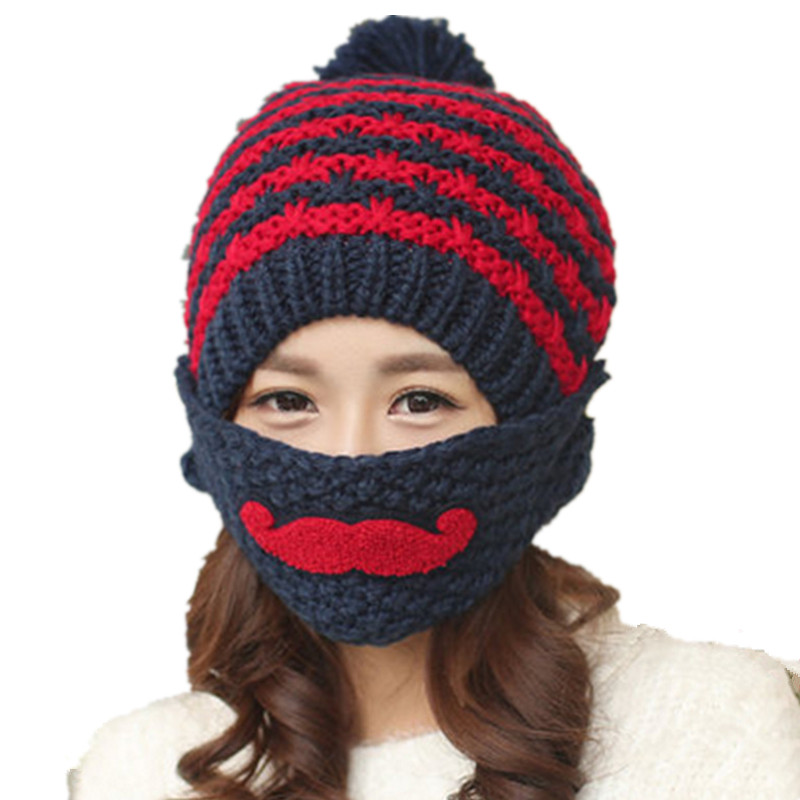 Balaclava Women s Winter Hats Warm Beard Mask Female Plus Velvet Thicken  Wool Knitted Cap Girls Beanie Outdoor Hat With Ears-in Skullies   Beanies  from ... 881455f24
