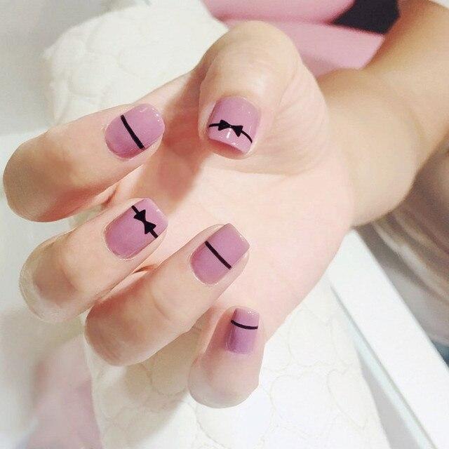 24 unids/set Malva Rosa negro bowknot diseño uñas postizas Simple ...