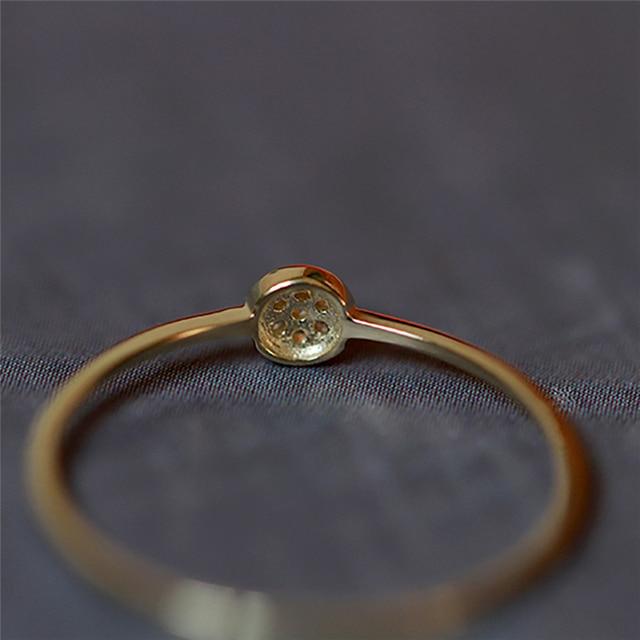 ROMAD délicat unique petit cubique Zircon cristal Bague couleur or mince Bague pour les femmes mode Bague R4