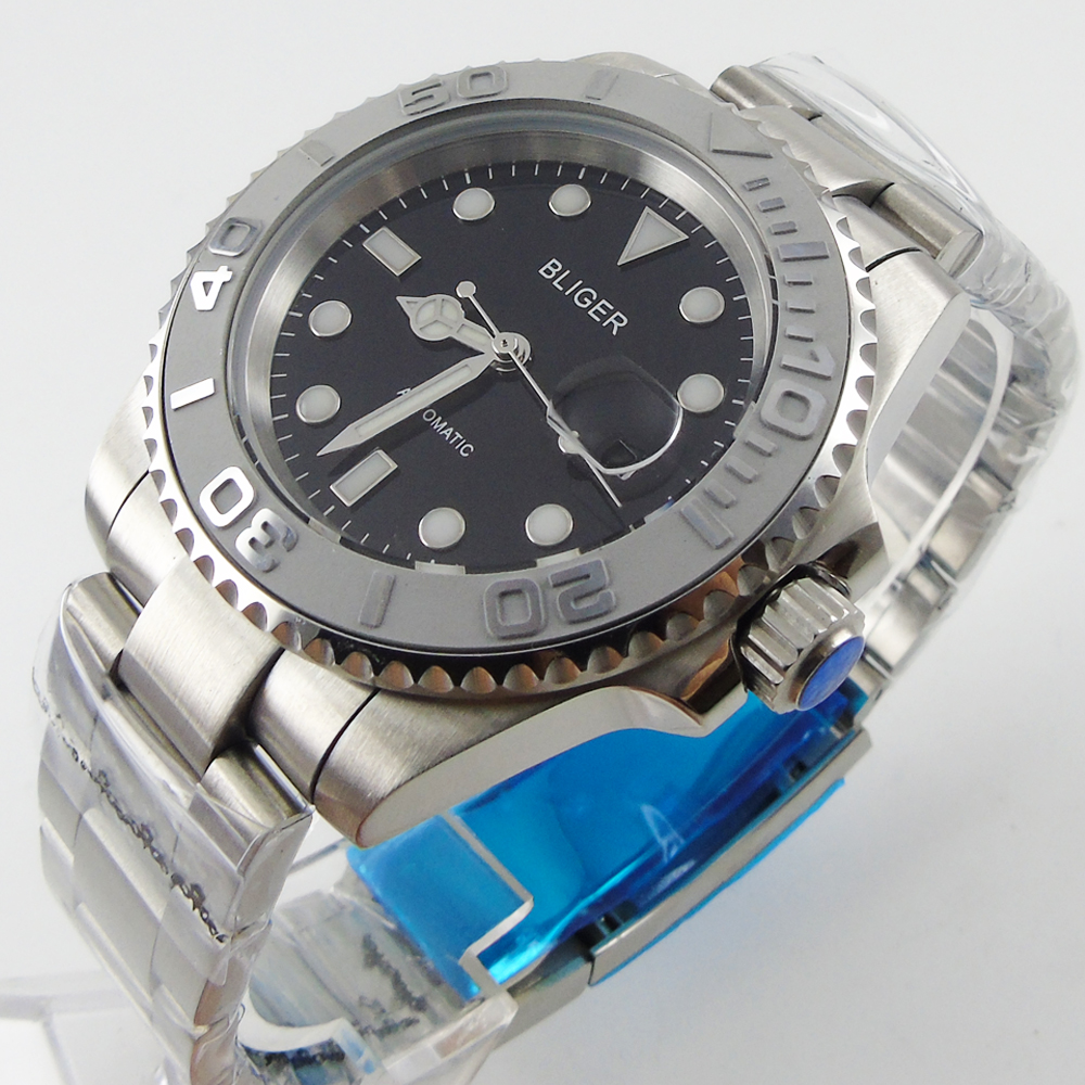 40mm BLIGER Ceramic Bezel Luminous sapphire automatic mens watch